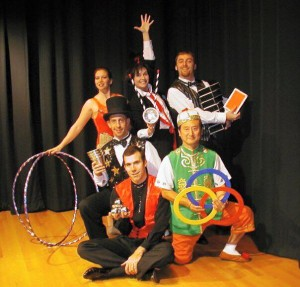 lou-johnson-with-performers-300x287 Lou Johnson - Magician, Juggler & Stiltwalker Extraordinaire