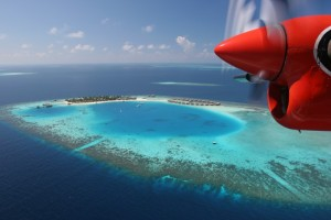The Aerial view of Maldives