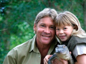 Steve Irwin and his daughter