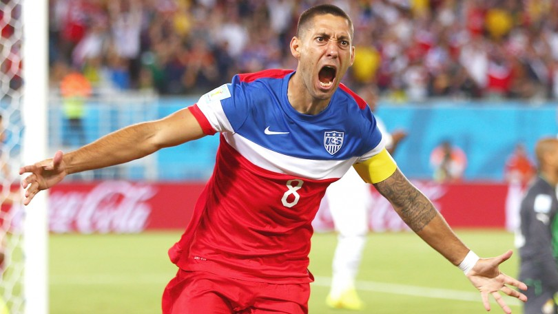 NATAL, BRAZIL - JUNE 16:  Clint Dempsey of the United States celebrates after scoring his team's first goal during the 2014 FIFA World Cup Brazil Group G match between Ghana and the United States at Estadio das Dunas on June 16, 2014 in Natal, Brazil.  (Photo by Michael Steele/Getty Images)