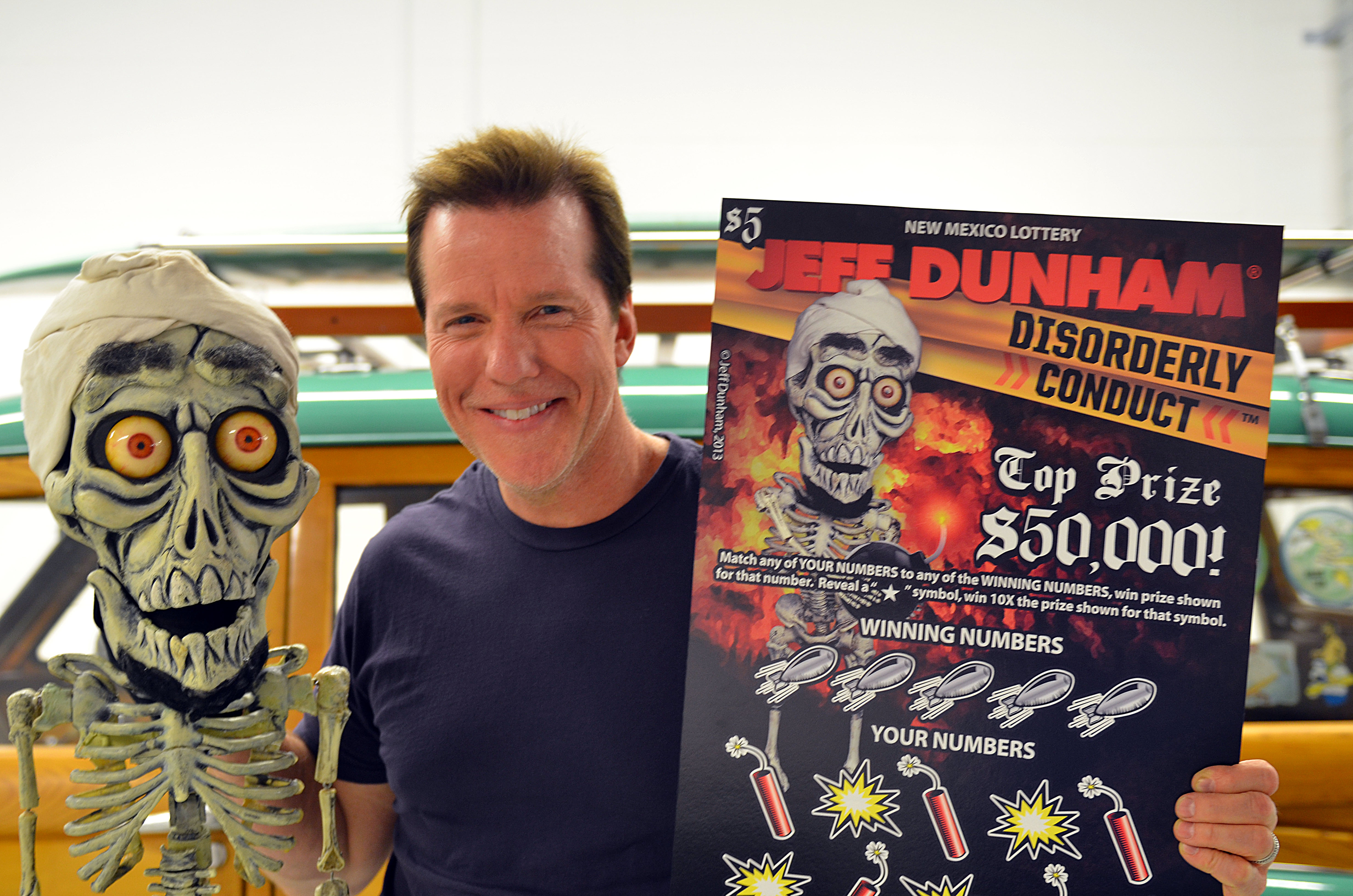 Courtesy of New Mexico Lottery Comedian Jeff Dunham, center, has teamed up with the New Mexico Lottery for a scratcher that features a few of his characters. agomez@abqjournal.com Mon Nov 18 14:36:36 -0700 2013 1384810591 FILENAME: 162601.jpg